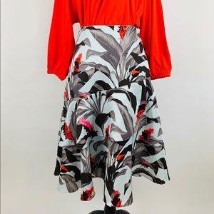 Blue Black Gray Ruffled Tiered A-Line Skirt Sz 10